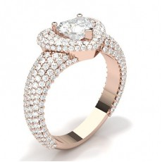 Heart Rose Gold Statement Diamond Rings