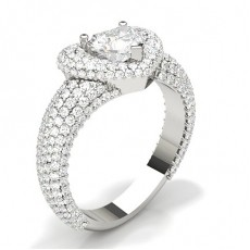 Heart White Gold Statement Diamond Rings