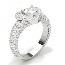 Pave Setting Heart Diamond Fashion Ring