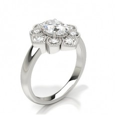 Oval Silver Cluster Diamond Rings
