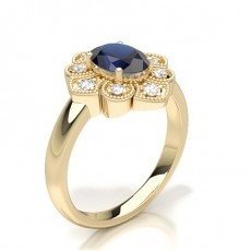 Oval Yellow Gold Cluster Diamond Rings