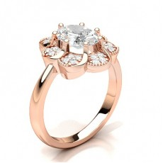 Oval Rose Gold Cluster Diamond Rings