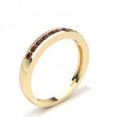 Round Yellow Gold Gemstone Diamond Rings