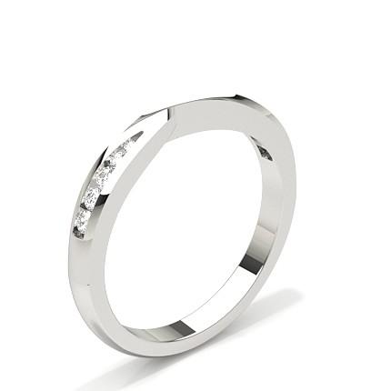 0.095ct Studded Flat Profile Diamond Shaped Band