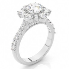 White Gold Halo Diamond Engagement Ring