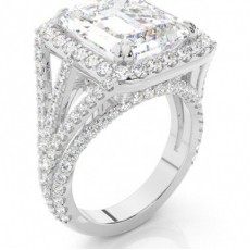Emeraude Or Blanc Ethereal Collection Bague de fiançailles