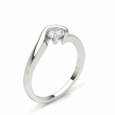 Round Diamond Plain Engagement Ring in 9K White Gold