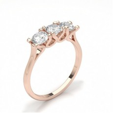 Round Rose Gold Trilogy Engagement Rings