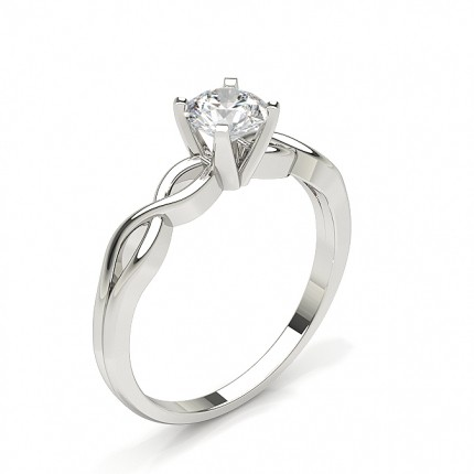 Round Plain Diamond Engagement Ring