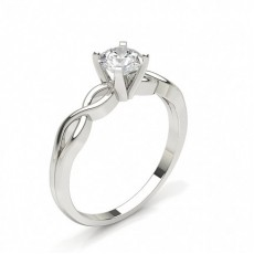 Round Plain Diamond Engagement Ring