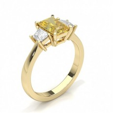 Emerald Yellow Gold Trilogy Diamond Rings