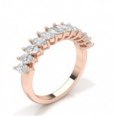Marquise Rose Gold Half Eternity Diamond Rings