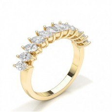 Marquise Yellow Gold Half Eternity Diamond Rings