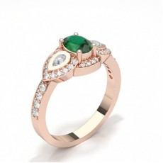 Oval Rose Gold 3 Stone Diamond Rings