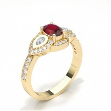 Oval Yellow Gold Gemstone Diamond Rings