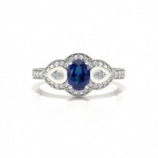Blue Sapphire Oval Three Stone Ring