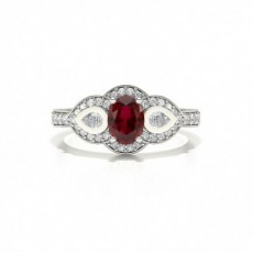 Oval Silver Gemstone Diamond Rings