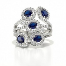 Fashion Prong Setting Round Blue Sapphire Ring