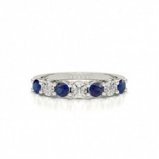 Blue Sapphire 4 Prong Half Eternity Ring