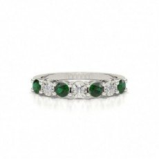 Emerald 4 Prong Half Eternity Ring