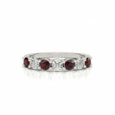 Round Silver Gemstone Diamond Rings