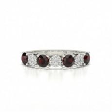 Round Silver Half Eternity Diamond Rings