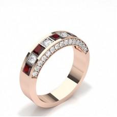 Princess Rose Gold Half Eternity Diamond Rings