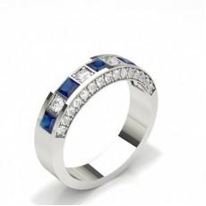 Princess Platinum Half Eternity Diamond Rings