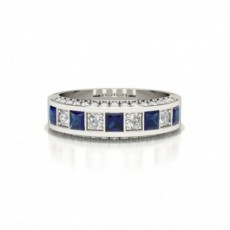 Princess Silver Half Eternity Diamond Rings