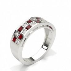 Princess Silver Half Eternity Diamond Rings