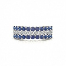 4 Prong Blue Sapphire Half Eternity Ring