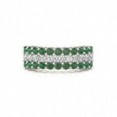 4 Prong Emerald Half Eternity Ring