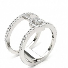 Oval White Gold Statement Diamond Rings