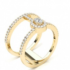 Oval Yellow Gold Statement Diamond Rings