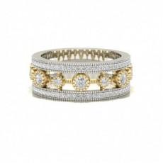 Bague fantaisie diamant rond serti clos et pavé en