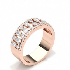 Pear Rose Gold Statement Diamond Rings
