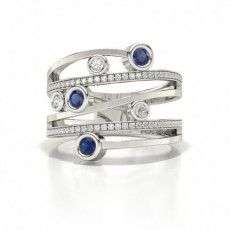 Fashion Studded Round Blue Sapphire Ring