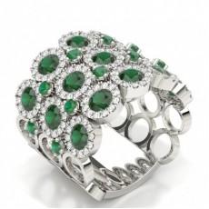 Round Platinum Statement Diamond Rings