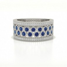 Prong Setting Studded Round Blue Sapphire Fashion Ring