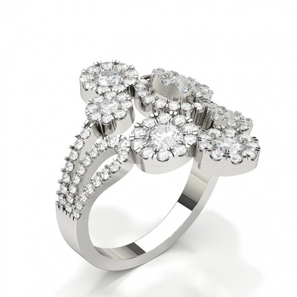 Round Prong Setting Diamond Cluster Ring