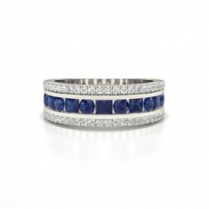 Round And Princess Half Eternity Blue Sapphire Ring