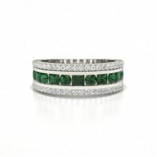 Round And Princess Half Eternity Emerald Ring