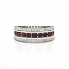 Round And Princess Half Eternity Ruby Ring