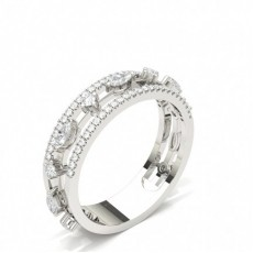 Mixed Shapes Silver Statement Diamond Rings