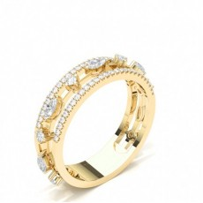 Mixed Shapes Yellow Gold Statement Diamond Rings