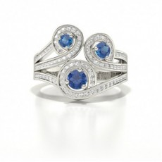Pave Setting Round Blue Sapphire Fashion Ring