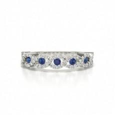 4 Prong Setting Round Blue Sapphire Fashion Ring