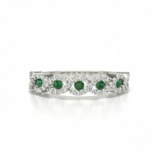 4 Prong Setting Round Emerald Fashion Ring