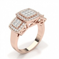 Round Rose Gold Cluster Engagement Rings