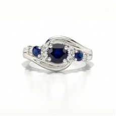 4 Prong Setting Three Stone Blue Sapphire Ring